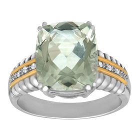 1 ct Green Quartz Ring with Diamonds
