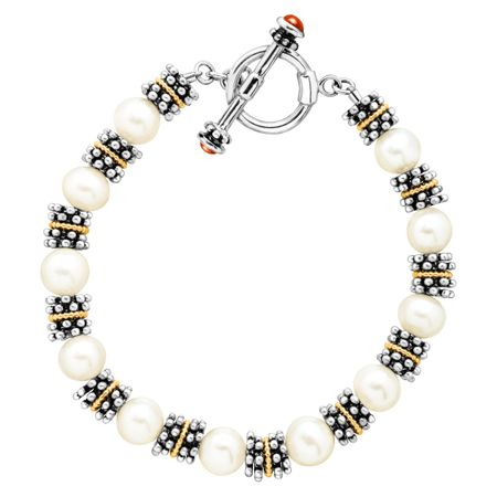 09f3711eb76ea 8 mm Freshwater Pearl Bead Toggle Bracelet in Sterling Silver & 14K Gold