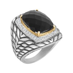 15 ct Onyx & 3/8 ct Diamond Ring