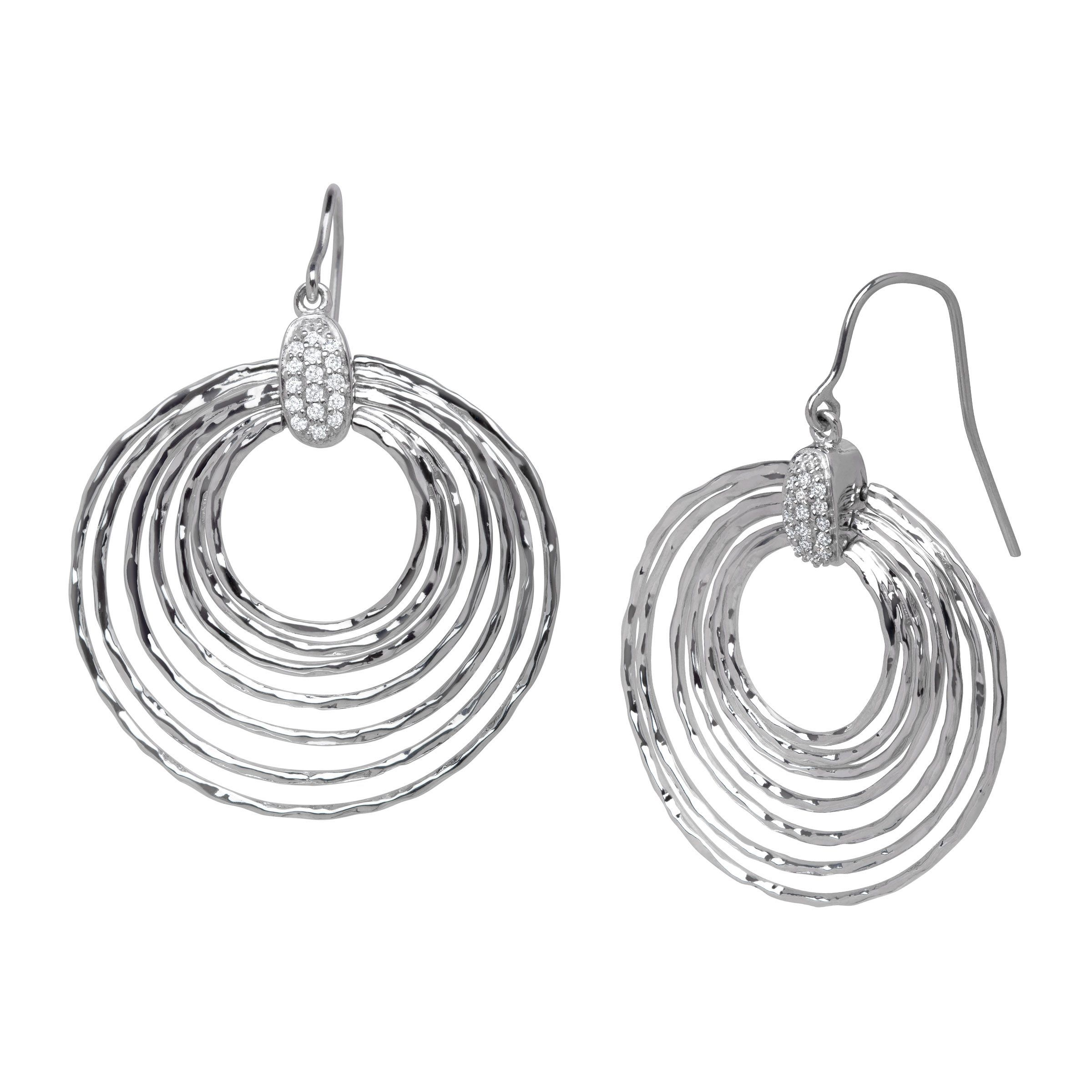 1 6 Ct Diamond Circle Drop Earrings In Sterling Silver