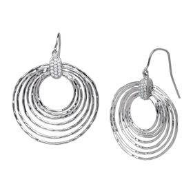 1/6 ct Diamond Circle Drop Earrings