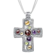 Multi stone cross pendant in sterling silver multi stone cross multi stone cross pendant in sterling silver multi stone cross pendant jewelry aloadofball Image collections