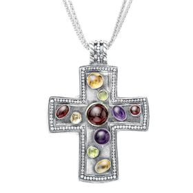Multi-Stone Cross Pendant