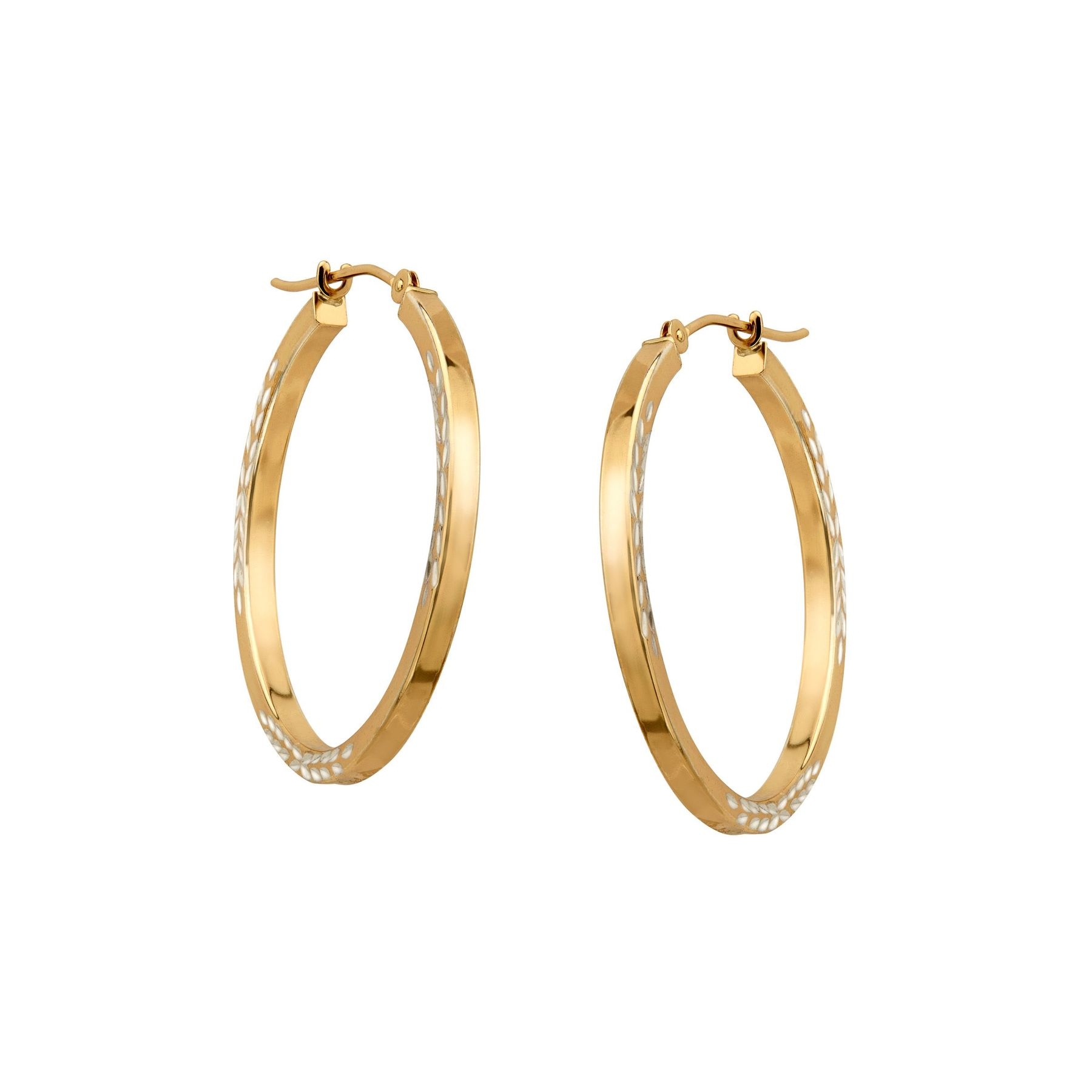 Leaf Design Hoop Earrings