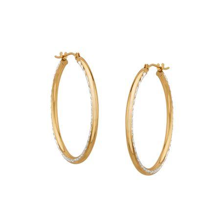 Silver gold jewellery - sterling silver hoop earrings medium golden