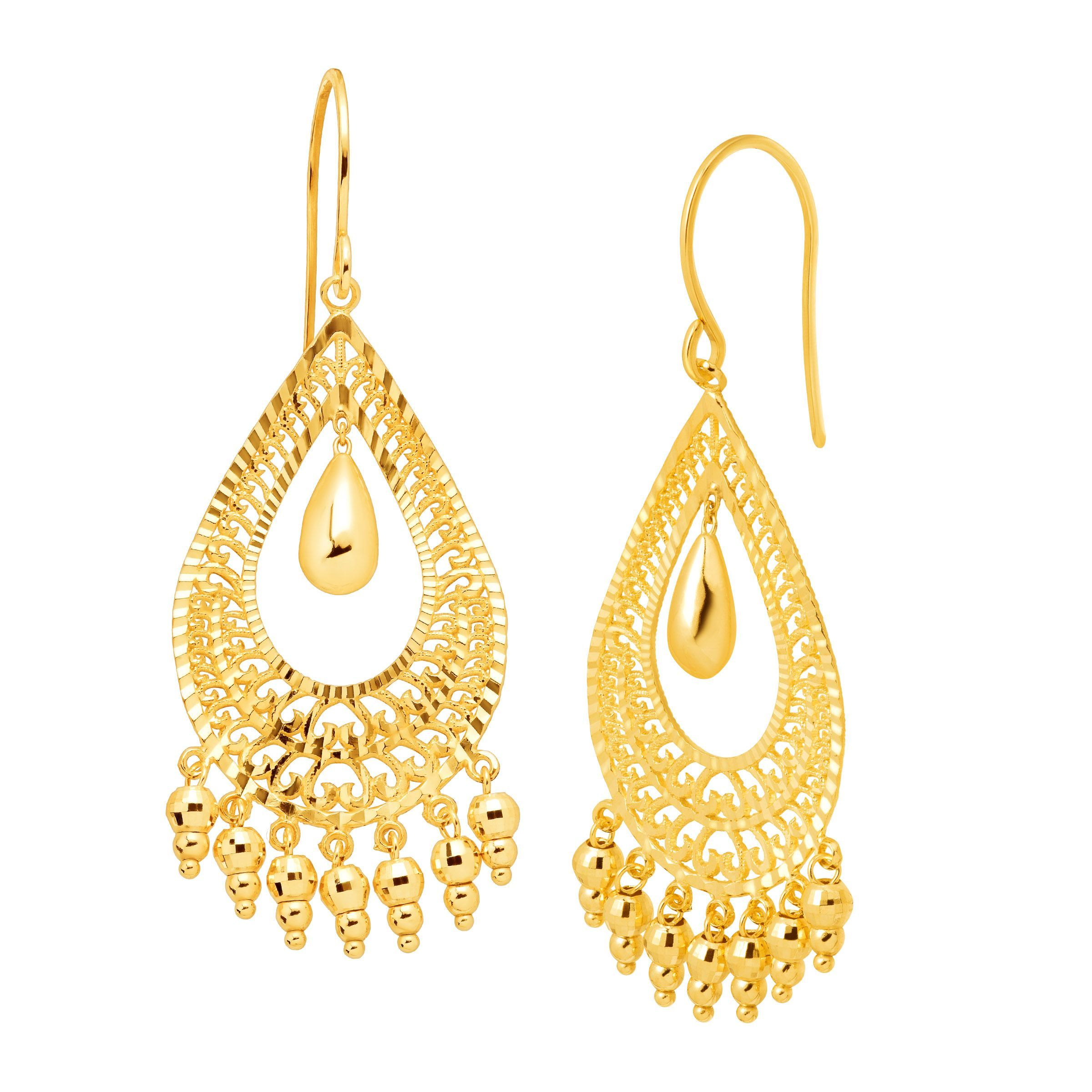 Eternity Gold Teardrop Fringe Drop Earrings In 10k