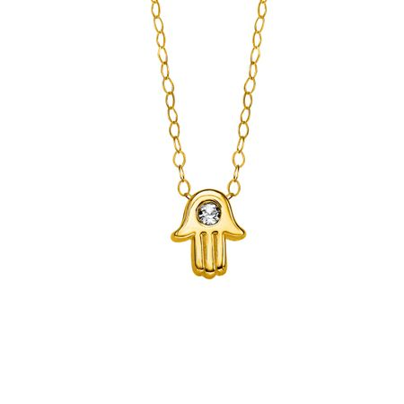 bb299705c8adf Crystaluxe Teeny-Tiny Hamsa Pendant with Swarovski Crystal in 10K Gold