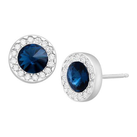 ca6eea42e8453d Halo Stud Earrings with Navy Cubic Zirconia in Sterling Silver ...