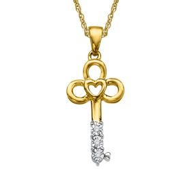 Heart Key Pendant with Diamonds