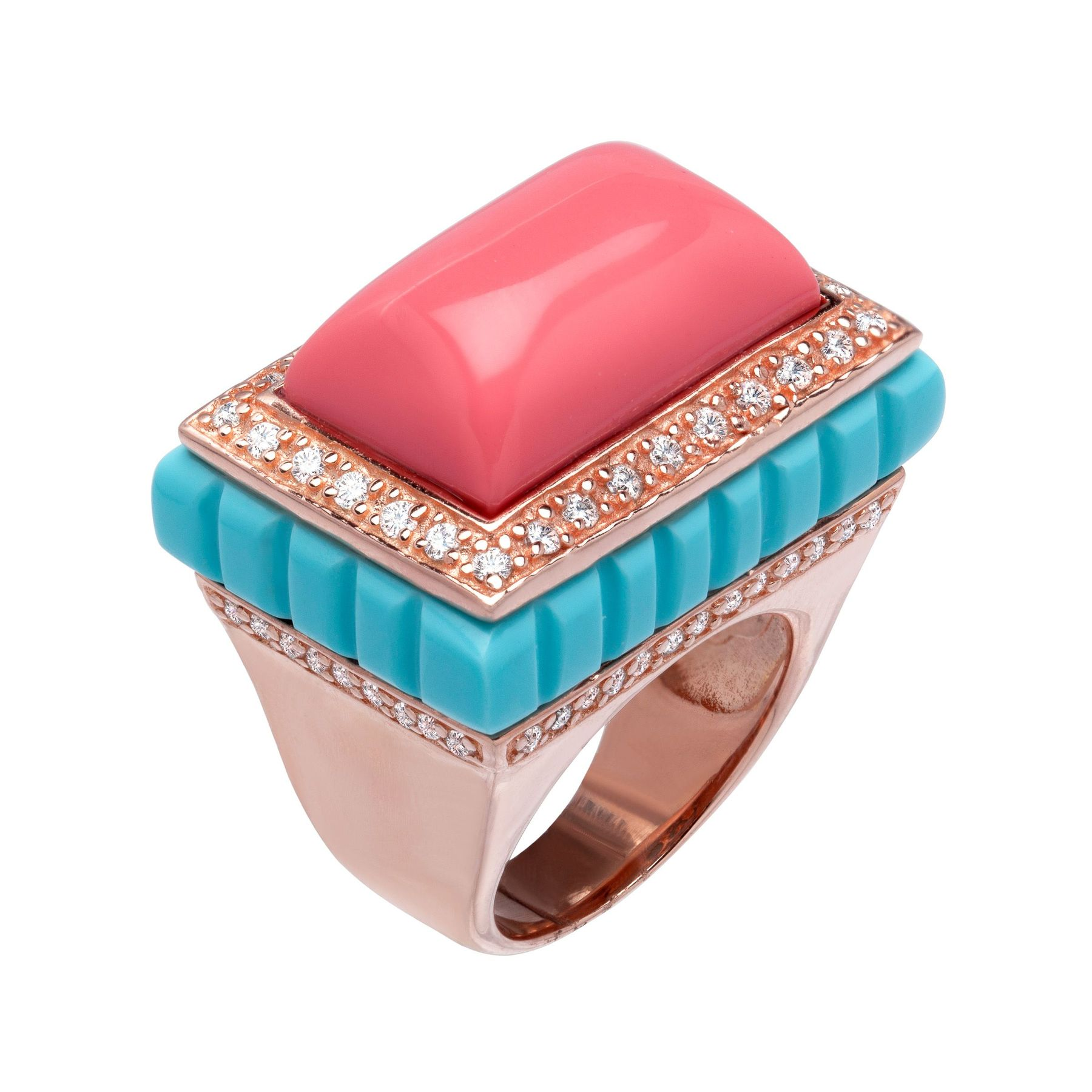 Cristina Sabatini Moneglia Ring with Cubic Zirconia in 18K Pink Gold ...
