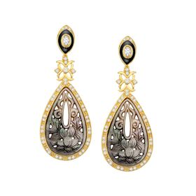 Deluxe Mother-of-Pearl Earrings with Cubic Zirconia