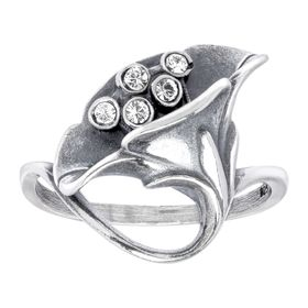 Art Nouveau Calla Lilly Ring with Swarovski Crystals