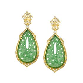 Green Quartz Flower Drop Earrings