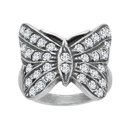 Art Nouveau Butterfly Ring with Swarovski Crystals