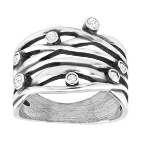 Art Deco Band Ring with Swarovski Crystals