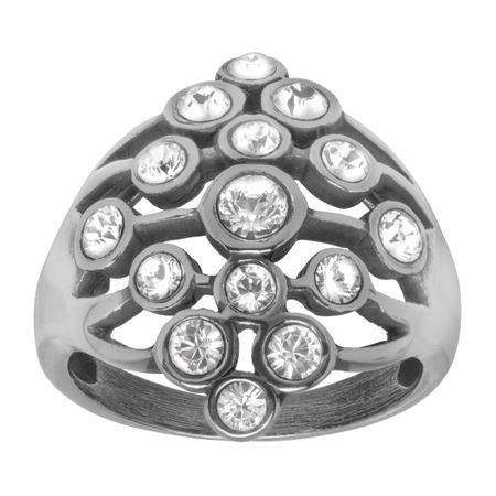 Art Deco Cluster Ring with Swarovski Crystals