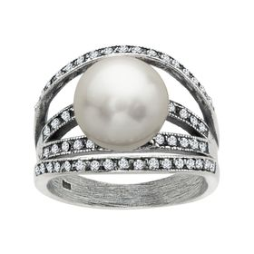 Art Deco Pearl Arch Ring