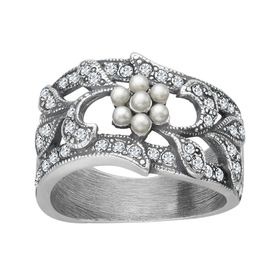 Art Nouveau Pearl Flower Ring