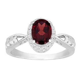 1 1/2 ct Garnet & White Topaz Ring