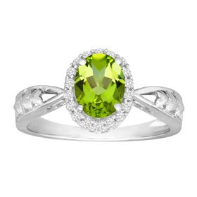 1 1/3 ct Peridot & White Topaz Ring
