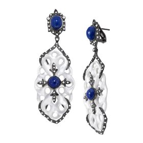 Lapis and White Topaz Carved Knot Drop Earrings