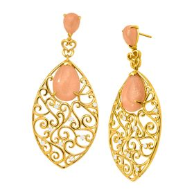 Dancing Vines Sunstone Drop Earrings