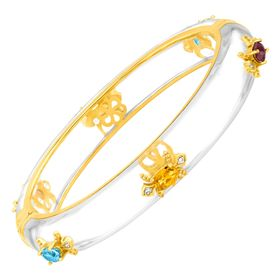 Fleur De Lis Bangle with Multi-Gems