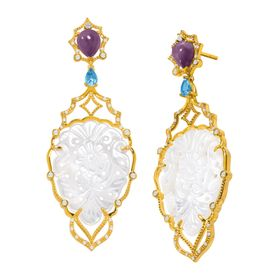 Mother-of-Pearl Chuchoter Earrings with Multi-Gems