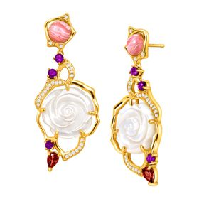 Mother-of-Pearl Rose Vine Earrings with Multi-Gems
