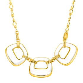 Clear Resin Deco Link Necklace with Cubic Zirconia