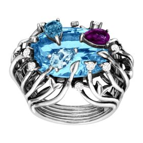 Swiss & London Blue Topaz, Amethyst Iris Blossom Ring