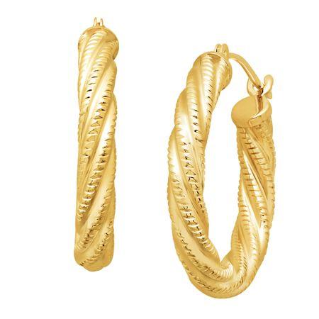8bacc118bf627 Eternity Gold Twist Rope Hoop Earrings in 14K Gold