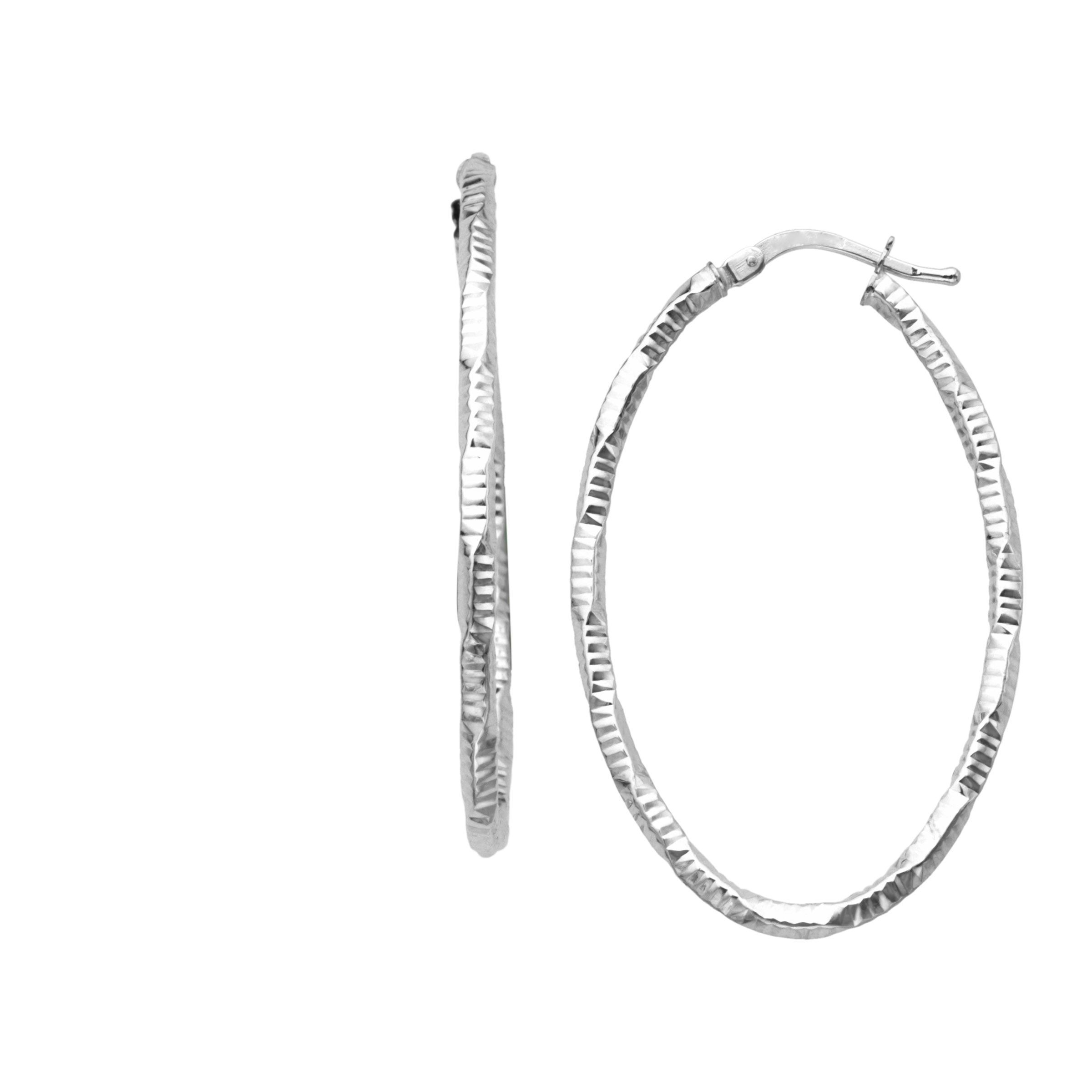 Details About Eternity Gold Diamond Cut Hoop Earrings In 14k White