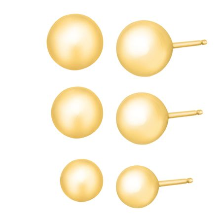 4-6 mm Ball Stud Earring Set