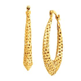 Puffed Teardrop Hoop Earrings
