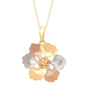 Three-Tone Brushed Flower Pendant