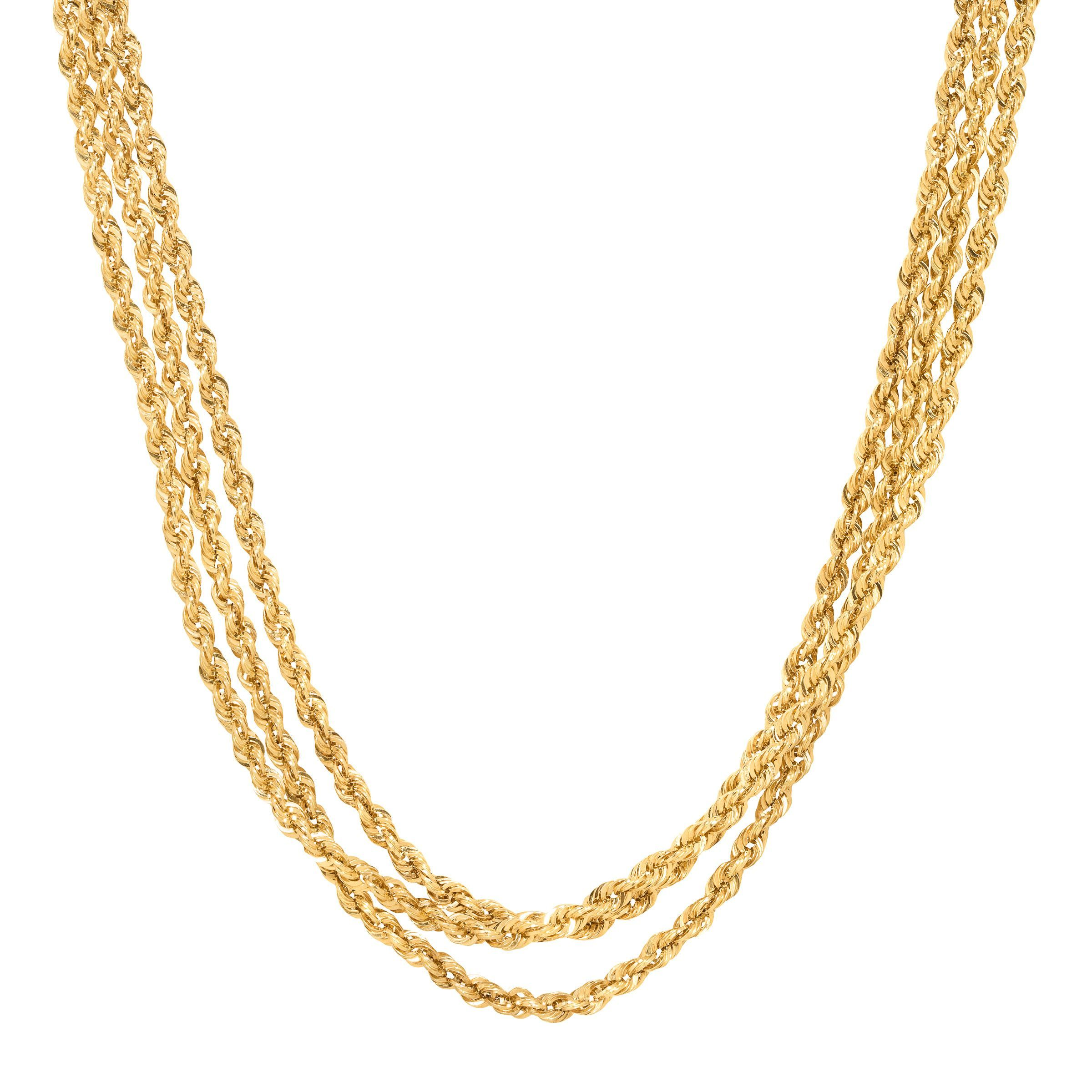 fb75e98313284 Details about Just Gold Three-Row Rope Chain Necklace with Diamonds in 14K  Gold