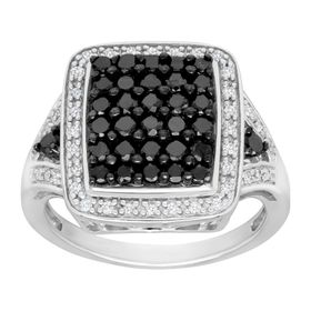 1 ct Black & White Diamond Ring