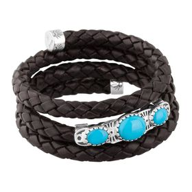 Turquoise Black Leather Coil Bracelet