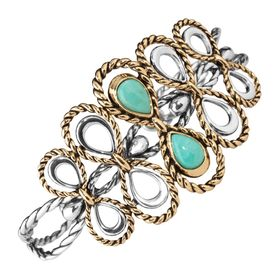 Turquoise Roped Filigree Cuff Bracelet