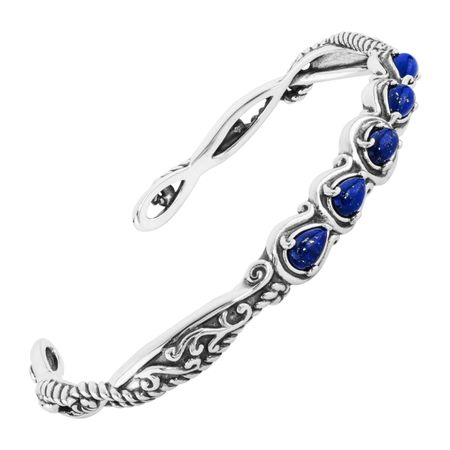 Carolyn Pollack Simply Fabulous 2 1/4 ct Natural Lapis Five-Stone Cuff  Bracelet in Sterling Silver