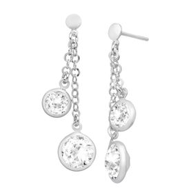 Drop Earrings with White Swarovski Crystals