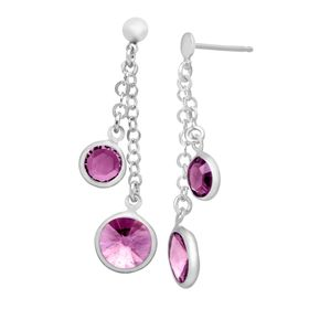 Drop Earrings with Purple Swarovski Crystals