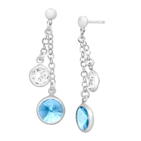16841214b Crystaluxe Layered Drop Earrings with Blue and White Swarovski ...