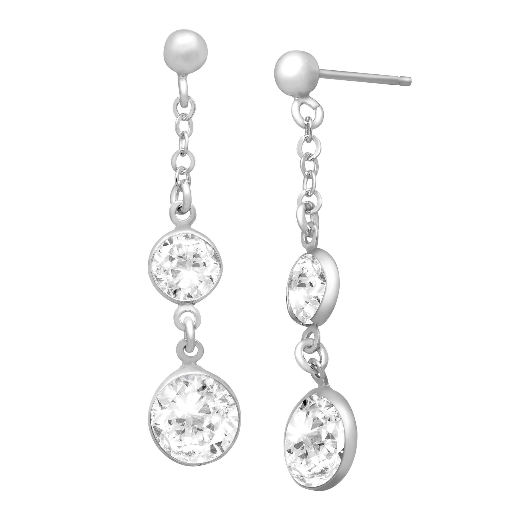 Drop Earrings With Swarovski Crystals In Sterling Silver
