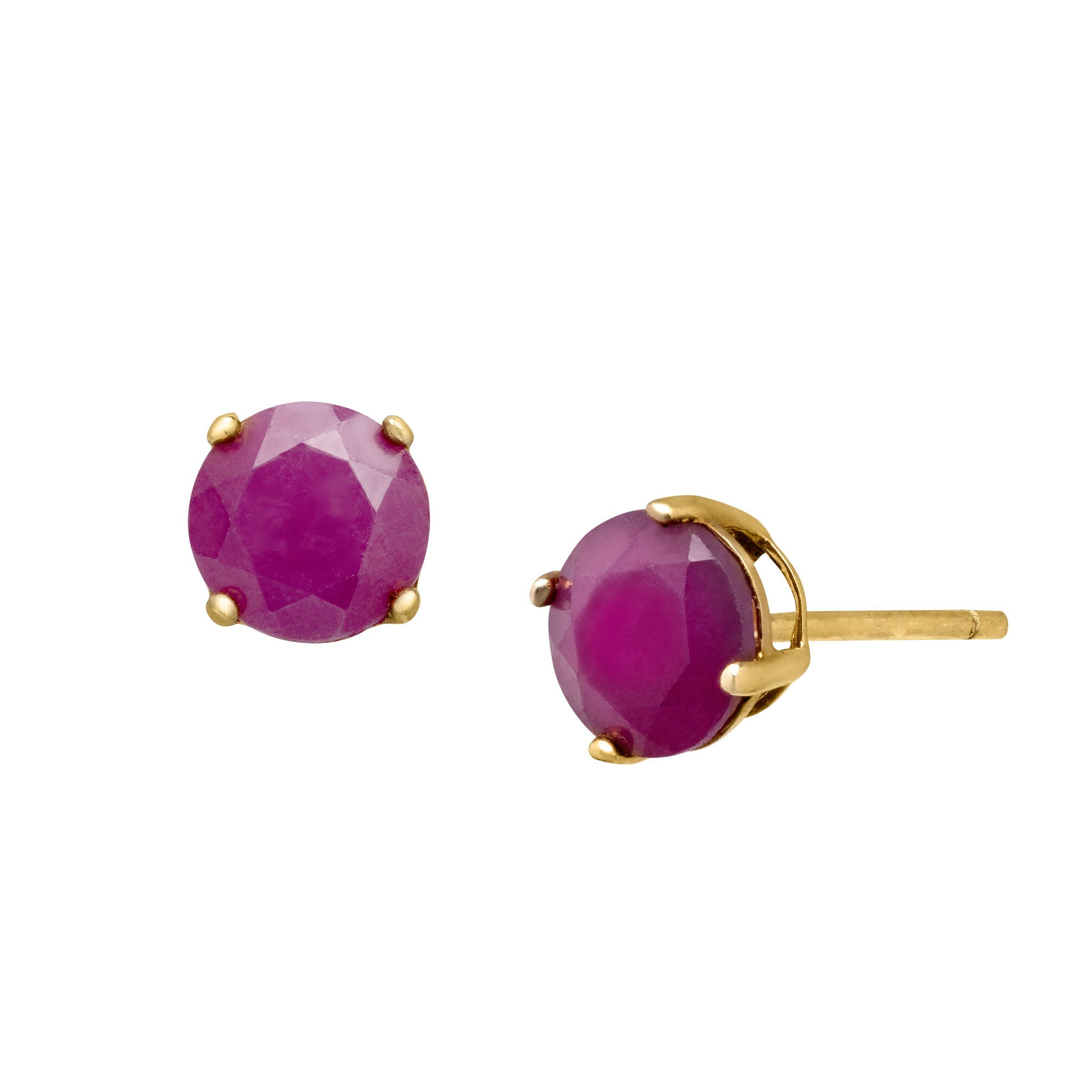 stud yellow in gold ruby earrings