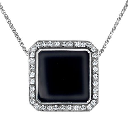 Art Deco Enamel Pendant with Swarovski Crystals