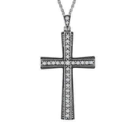 Van kempen cross pendant with swarovski crystals in sterling silver victorian cross pendant aloadofball Choice Image
