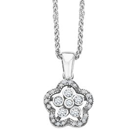 Art Nouveau Flower Pendant with Swarovski Crystals