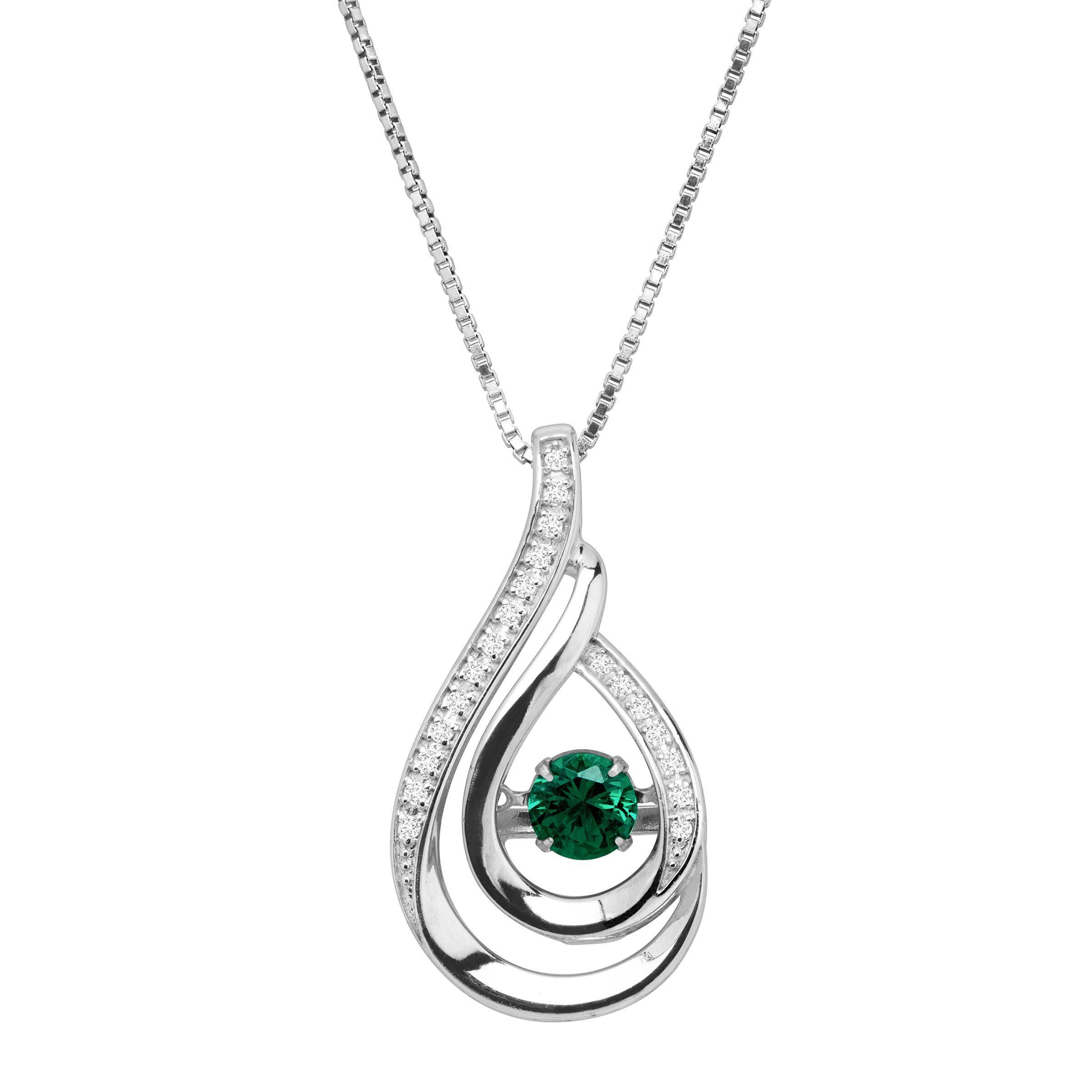 925 Sterling Silver Round Blue Opal White Topaz Pendant Necklace